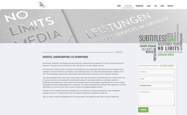 Custom webdesign for no limits media